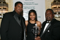JB grandaughter with award & Chuck Morse & Malachi Knowles