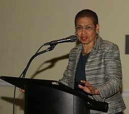 The Honorable Eleanor Holmes Norton (DC) gives a warm welcome during the JML 70th Anniversary Celebration and the 09 AAGHOF Presentation  at the City Museum.