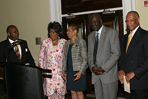 The Honorable Eleanor Holmes Norton (DC) receiving Honorary membership into the Hall of Fame from Founder Malachi Knowles, Hall of Famers Selena Johnson and Jimmy Garvin look on with Dr. Marshall Banks, Howard University.