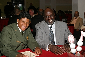 Gayle Hazelwood, Park Services NCPE Superintendent and Hall of Famer Jiimy Garvin at the 2009 AAGHOF Presentation at the City Museum.
