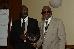 Herbert Turk Walker with his son at the AAGHOF Induction Celebration where he received his Founders Award.